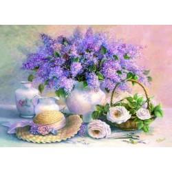 Puzzle Zátiší květiny s kloboukem