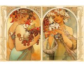 Puzzle Alfons Mucha - Ovoce a květiny