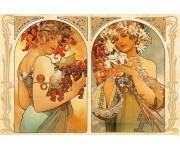 Puzzle Alfons Mucha - Ovoce a květiny