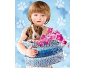Puzzle Dítě a pes Beagle