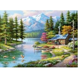 Puzzle Chata u horského potoka