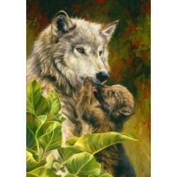 Puzzle Vlk s mládětem