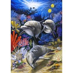 Puzzle Tři delfíni na průzkumu