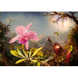 Puzzle Orchidej a tři kolibříci