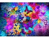 Puzzle Květiny a motýli