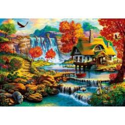 Puzzle Dům poblíž vodopádu