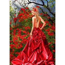 Puzzle Kráska v červených šatech