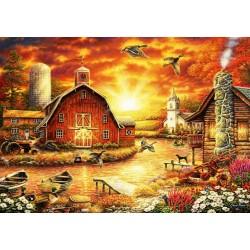 Puzzle Západ slunce nad farmou