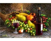 Puzzle Zátiší ovoce a víno
