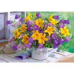Puzzle Žluto-fialová kytice