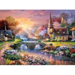 Puzzle Kostelík při západu slunce