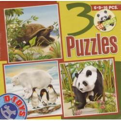 Puzzle Želva, Lední medvěd, Panda - DĚTSKÉ PUZZLE