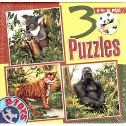 Puzzle Koala, tygr, gorila - DĚTSKÉ PUZZLE