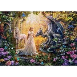 Puzzle Drak, princezna a jednorožec