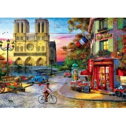 Puzzle Notre Dame při západu slunce