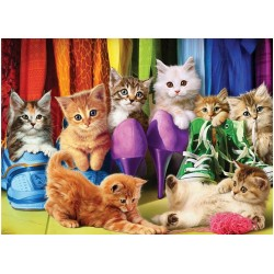 Puzzle Kočičky v šatníku