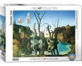 Puzzle Labutě odrážející slony