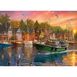 Puzzle Západ slunce v přístavu
