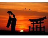 Puzzle Geisha při západu slunce