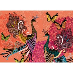Puzzle Páv a motýl