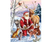 Puzzle Santa Klaus a zvířátka