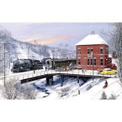 Puzzle Železniční stanice v zimě
